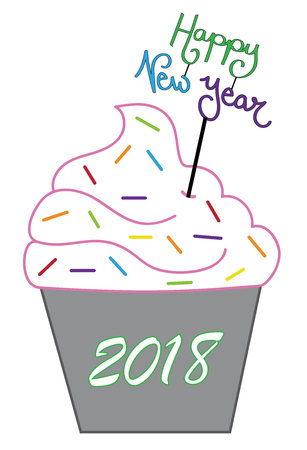 Happy New Years 2018 Cupcake Vector illustration.