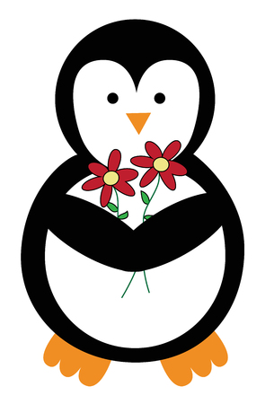 Cute Penguin with Flowers