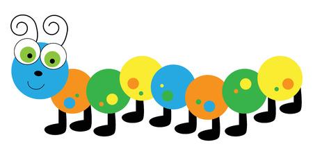 Colorful Caterpillar Vector illustration. Stock Illustratie
