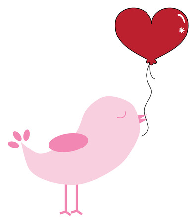 Valentines Bird with Balloon. Illustration