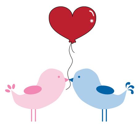 Valentines Birds with Balloon