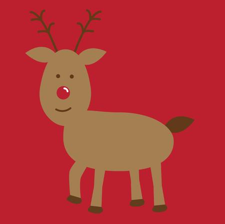 Merry Christmas reindeer illustration on red background. Иллюстрация