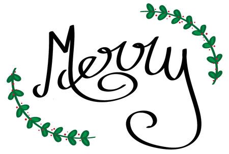 Merry Christmas lettering illustration on white background. Ilustracja
