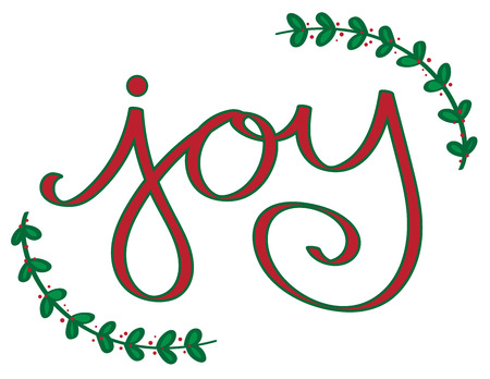 Christmas Joy lettering illustration on white background.