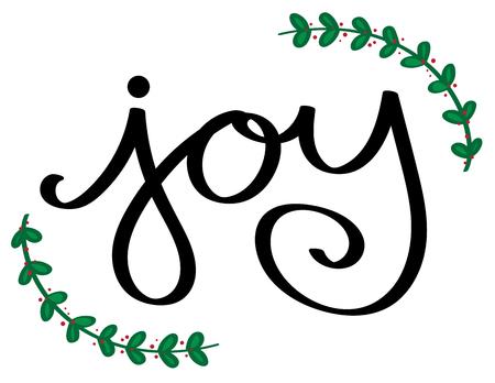 Christmas Joy lettering illustration on white background.