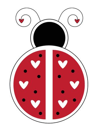 Happy Valentines Day ladybug illustration on white background.