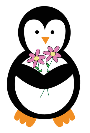 Valentines Day Penguin with Flowers