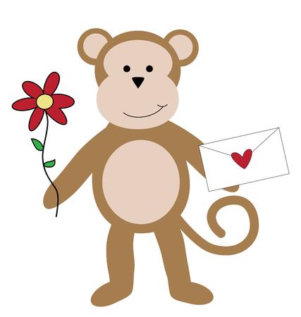Happy Valentines Day Monkey Illustration