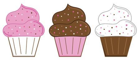 Yummy Valentines Cupcakes Illustration vectorielle. Banque d'images - 94732527