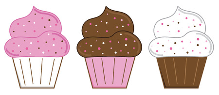 Yummy Valentines Cupcakes Vector illustration.