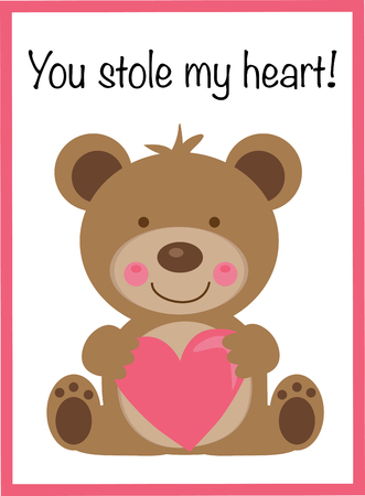 You Stole My Heart Valentine Vector illustration.