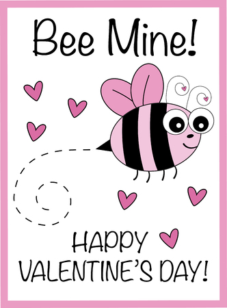 Bee Mine Valentine Vector illustration.