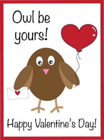 Owl Be Yours Valentine Vector illustration. Иллюстрация