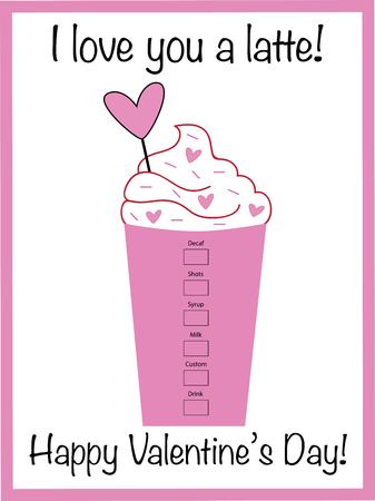 I Love You a Latte Valentine Vector illustration. Vettoriali
