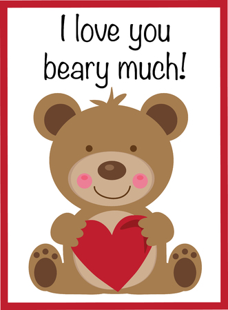 I Love You Beary Much Valentine Vector illustration.