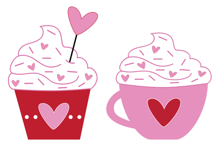 Valentines Coffee and Cupcake Vector illustration.