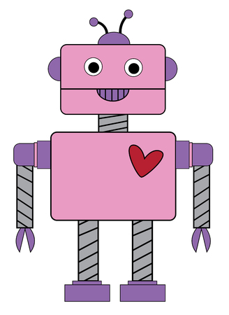 Happy Valentines Day Robot Vector illustration. 向量圖像