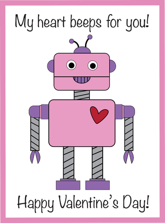 My Heart Beeps For You Valentine Vector illustration.