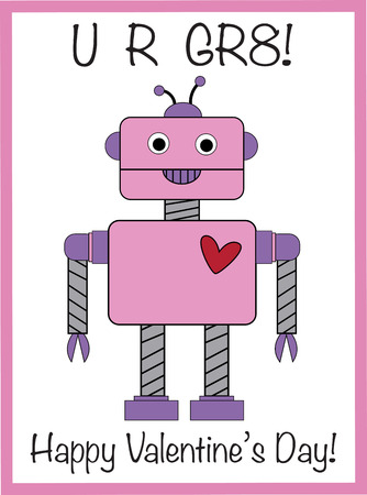 Happy Valentines Day Robot Vector illustration. Иллюстрация