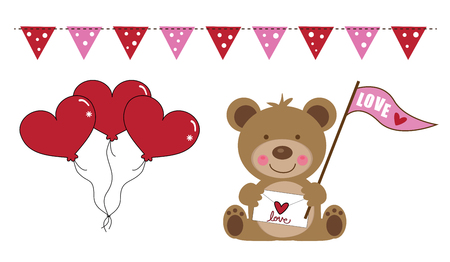 Valentine's Day Bear and Balloons Фото со стока - 95445082