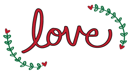 Red Love Heart Lettering