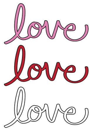 Red and Pink Love Lettering Фото со стока - 95445188