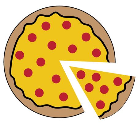 Pepperoni Pizza in cartoon illustration. Фото со стока - 95365085