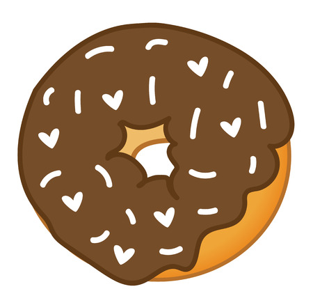 Chocolate Valentines Day Donut Иллюстрация