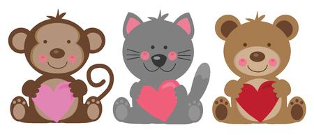 Happy Valentines Day Animals with hearts Фото со стока - 95435909