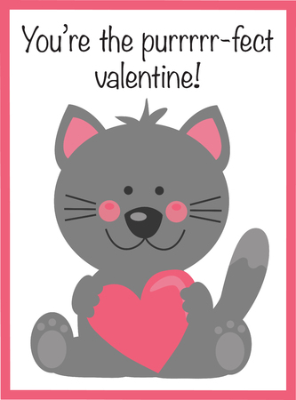 You Are The Perfect Valentine text with cat holding a heart. Иллюстрация