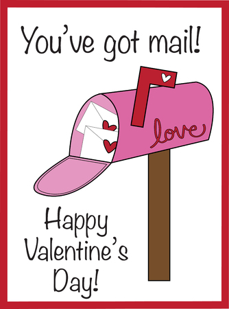 You've Got Mail Valentine's pink letterbox Иллюстрация