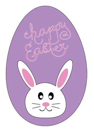 Happy Easter Egg Bunny in cartoon illustration.