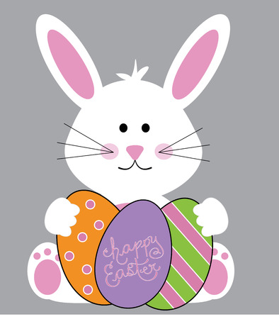 Happy Easter Bunny with Eggs Illustration