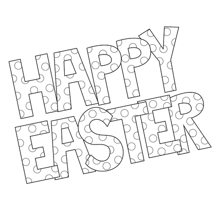Happy Easter typography for Coloring Page.