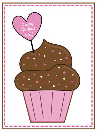 Happy Mothers Day Cupcake Фото со стока - 100020904