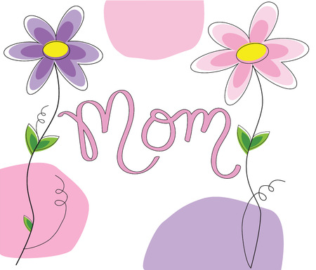 Mothers Day Mom Lettering Иллюстрация