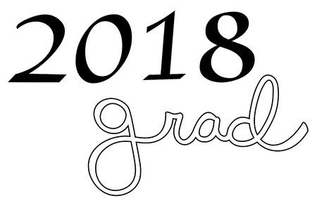 2018 Grad typography. 版權商用圖片 - 100020909