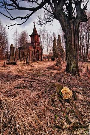 destroyed the old cemetery - the place of horror (HDR)