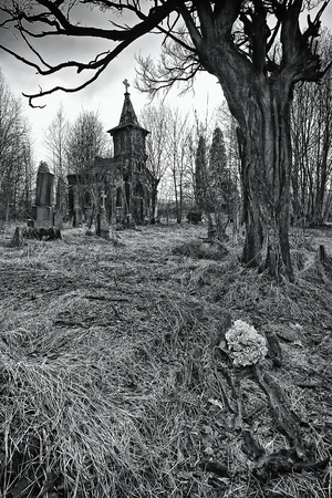 cemetry: destroyed the old cemetery - the place of horror (BW) Stock Photo