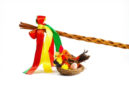 Easter decorations - whip with colored ribbons and nest with chickens Reklamní fotografie