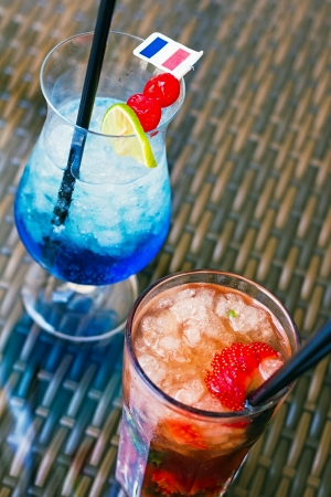 summer drinks - mojito with strawberries and blue lagoon from above photo