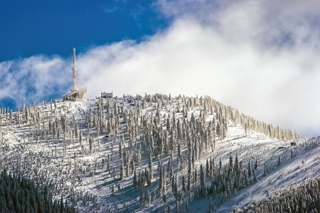 The highest mountain in the Beskydy - Lysa hora  Bald mountain  in winter