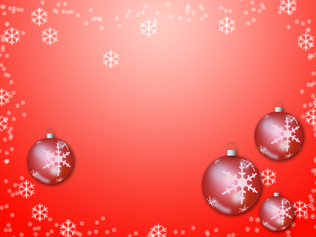 A Red Christmas background with many christmas balls