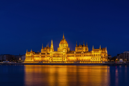 Orszaghaz - Illuminated Hungarian Parliament on the Danube