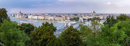 Panoramic overview of Budapest from Chain Bridge to the Margaret Bridge with Parliament building