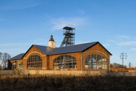 The premises of the old mine Barbora with mining tower and engine room