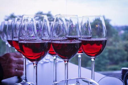 Tasting red wine at the presentation event