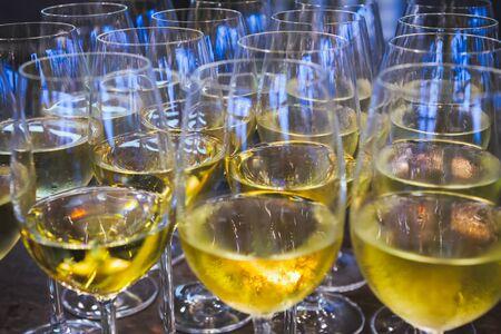 Tasting white wine at the presentation event