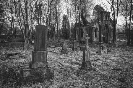 The decaying cemetery and the destroyed Evangelical chapel - a creepy place