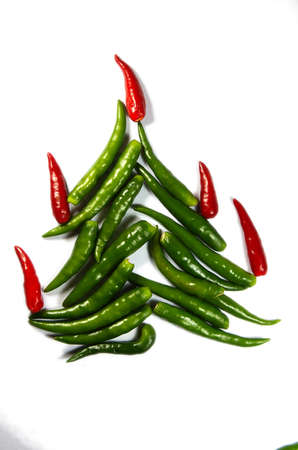 Spicy chili New Year Tree isolated on white Stock Photo